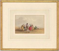 William Henry Harriott (fl.1811 -1839) - Framed Watercolour, Fisherfolk on Beach