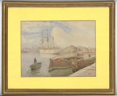 J.H. Butt - Signed and Framed 19th Century Watercolour, Dock Scene