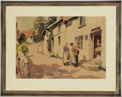 Fine Framed 20th Century Watercolour - Ladies Outside a Cottage