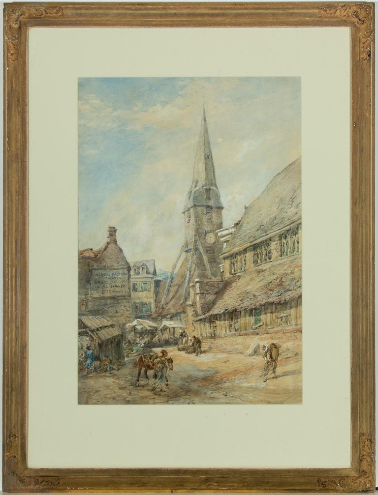 John Burgess (1814-1874) - 1855 Watercolour, Market Scene in Honfleur, Normandy - Art by John Burgess
