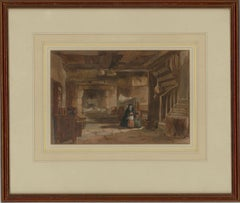 Edward Angelo Goodall RWS (1819-1908) - Signed Watercolour, Cottage Interior