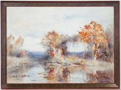 James Herbert Snell (1861-1935) -  Watercolour, Autumnal River Landscape