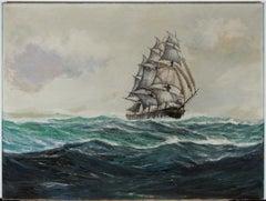 Robert F. Lie (1899-1980) - Signed 1950 Oil, Tall Ship on the High Seas