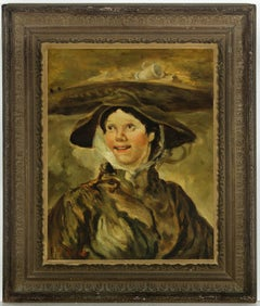 Ida Bale after Hogarth - Early 20th Century New Zealand Oil, The Shrimp Girl