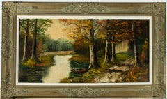 Rogiers - Large Framed Contemporary Oil, Forest River in Autumn