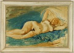 Raymond Piper RUA - Signed 1964 Oil, Reclining Female Nude
