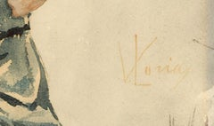 Vincenzo Loria (1850-1939) - Signed  Watercolour, An Italian Washer Woman