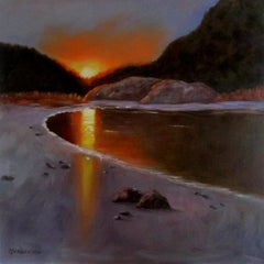Sunset at Crystal Cove, Painting, Oil on Canvas