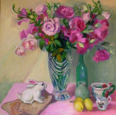 Pink Lisianthus with Bunny, Painting, Oil on Canvas