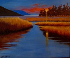 Cowichan Sunset, Painting, Acrylic on Canvas