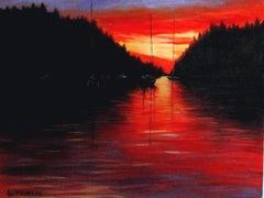 Galiano Sunset, Painting, Oil on Canvas