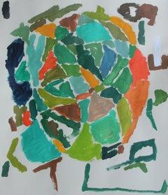 Olive & Orange, Painting, Acrylic on Paper