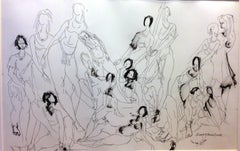 A group of dancer friends, Drawing, Pen & Ink on Paper