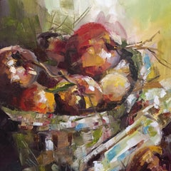 Fruit Basket, Painting, Oil on Canvas