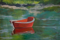 Red Boat Moored, Painting, Oil on Canvas
