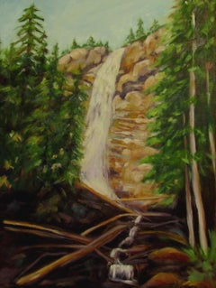 Waterfall in the Forest, Painting, Oil on Canvas