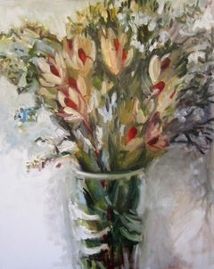 Flame Tips and Australian Wax Flowers, Painting, Oil on Canvas