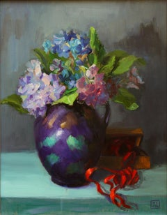 HYDRANGEA WITH RED RIBBON, Painting, Oil on MDF Panel
