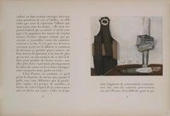 """Pablo Picasso-Bouteille et Vitre-17.5"""" x 25.5""""-Lithograph-1938-Cubism-White"""