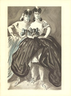 """Lena Leclercq-Two Women-14"""" x 10.25""""-Lithograph-1939-Black & White"""