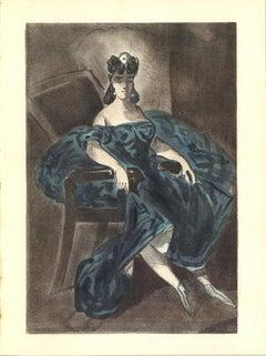 """Lena Leclercq-Les Femmes dans l'atelier-14"""" x 10.25""""-Lithograph-1939-Blue"""