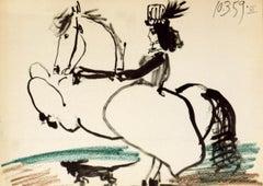 "Pablo Picasso-Equestrian, 1959-10.5"" x 14.5""-Lithograph--1959-Cubism"