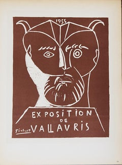 "Pablo Picasso-Exposition Vallauris-12.5"" x 9.25""-Lithograph-1959-Cubism-Brown"