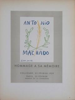 "Pablo Picasso-Antonio Machado-12.5"" x 9.25""-Lithograph-1959-Cubism-Gray"