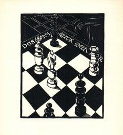 "Frank Hartley Anderson-Check-9.25"" x 9""-Woodblock-1939-Art Deco-Black & White"