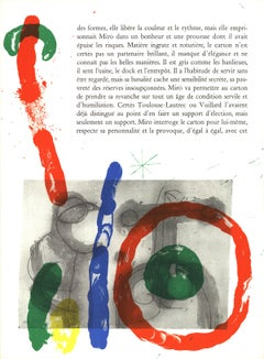 """Joan Miro-Page from Derriere le Miroir, no. 151-152-15"""" x 11""""-Lithograph-1965"""