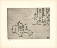 "Ben-Zion--Enkidu Feels Dejected (XII)-15"" x 17.5""-Etching-1966-Gray-mythology"