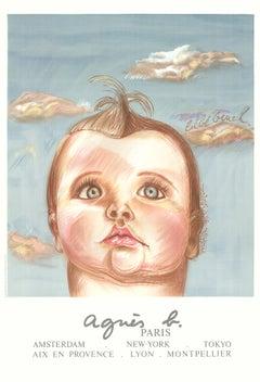 "Diane Chanel-Agnes B, le Bebe Cruel-39"" x 27.5""-Lithograph-1980-Realism-Blue"