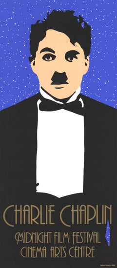 "Robert Francis-Charlie Chaplin-38"" x 16.75""-Serigraph-1984-Abstract-Black"
