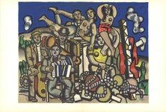 """Fernand Leger-Les Musiciens-15"""" x 22""""-Lithograph-1960-Modernism-Multicolor"""