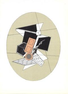 "Alain Le Yaouanc-Geometric detail-15"" x 11""-Lithograph-1969-Surrealism-Black"