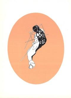 "Alain Le Yaouanc-Study on Calamine-15"" x 11""-Lithograph-1969-Surrealism-Orange"