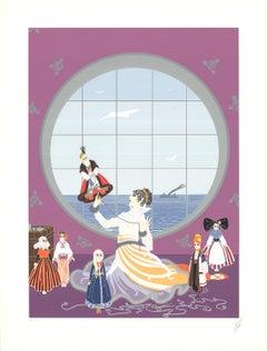 """Erte--Les Poupees Russes-30.5"""" x 23""""-Serigraph-Art Deco-Pink-costume, Russian"""