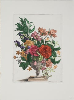 "Francois De Poilly-Floral Bouquet-15"" x 11.25""-Etching-Renaissance-Multicolor"