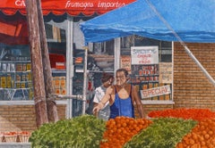 """Dwight Baird-Fromages Importés-16"""" x 20""""-Watercolor-1989-Outsider Art-Market"""