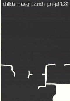 "Eduardo Chillida-Maeght Zurich-24.5"" x 16.5""-Lithograph-1981-Abstract-Black & Wh"
