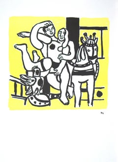 "Fernand Leger-Le Jeu (The Game)-30"" x 22""-Lithograph-1986-Modernism-Yellow"