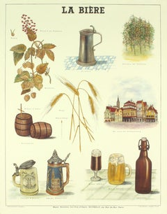"Emile Deyrolle-La Biere-33.5"" x 26""-Lithograph-Vintage-Brown-stein, mug, hops"