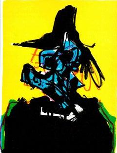 "Antonio Saura-Dark Figure with Hat-10.75"" x 8.5""-Lithograph-1967-Contemporary"
