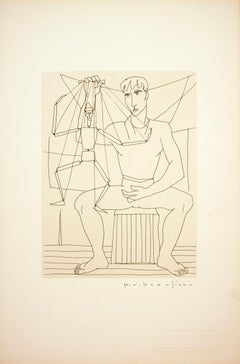 "Paul V. Beaulieu-Man with Puppet-16.75"" x 11""-Poster-1950-Modernism-Brown, White"