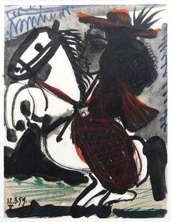 """Pablo Picasso-Cavalier-14.5"""" x 10.5""""-Lithograph-1959-Cubism"""