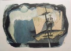 "Benton Spruance-The Spirit-Spout-22"" x 16""-Lithograph-1968-Modernism-Gray-boat"