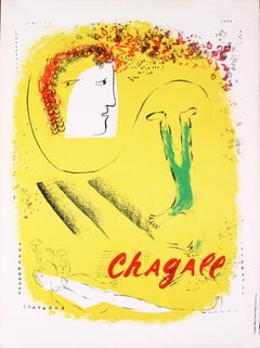 "Marc Chagall-The Yellow Background-29.5"" x 22.5""-Lithograph-1969-Modernism"