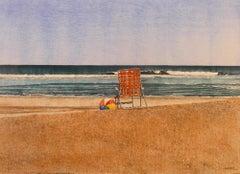 "Dwight Baird-Private Beach-16"" x 20""-Watercolor-1990-Outsider Art"