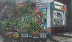 "Dwight Baird-Midnight Cornerstore-16"" x 20""-Watercolor-1991-Outsider Art"