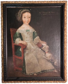 "Flemish School--Girl in Chair-31"" x 24""-Painting-1594-Renaissance-Brown, Black"